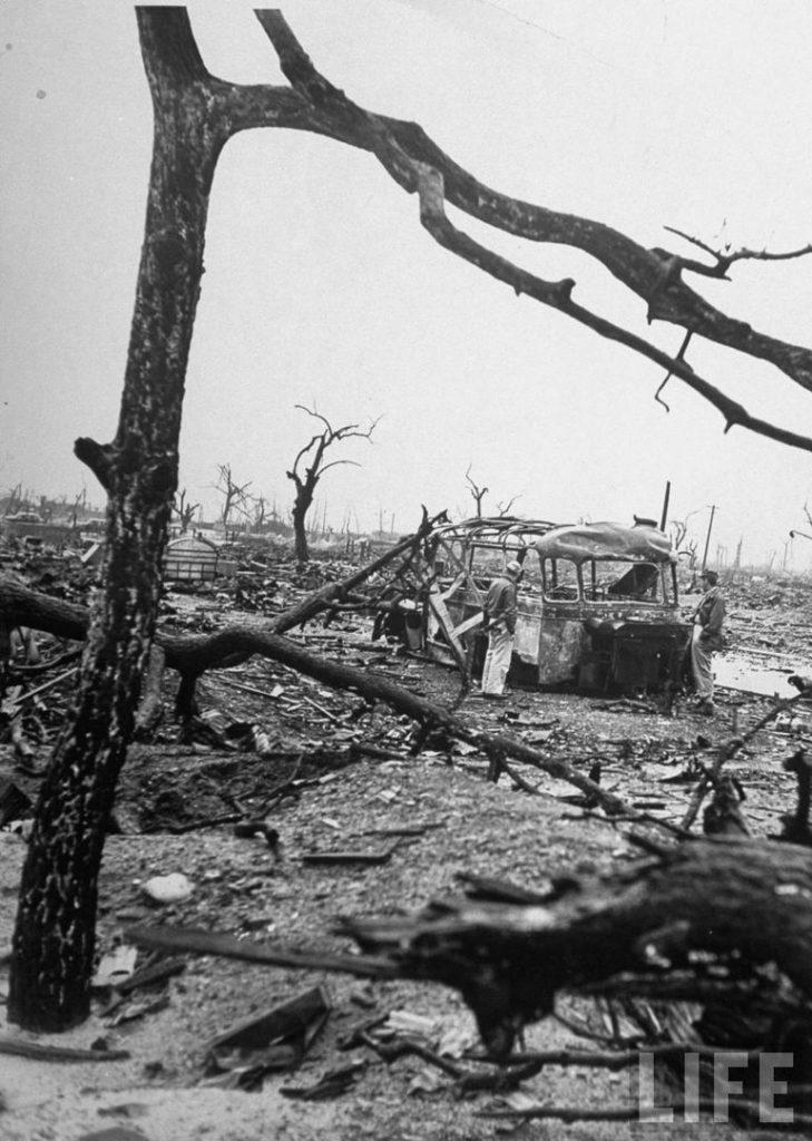 Обгоревшие деревья в Хиросиме