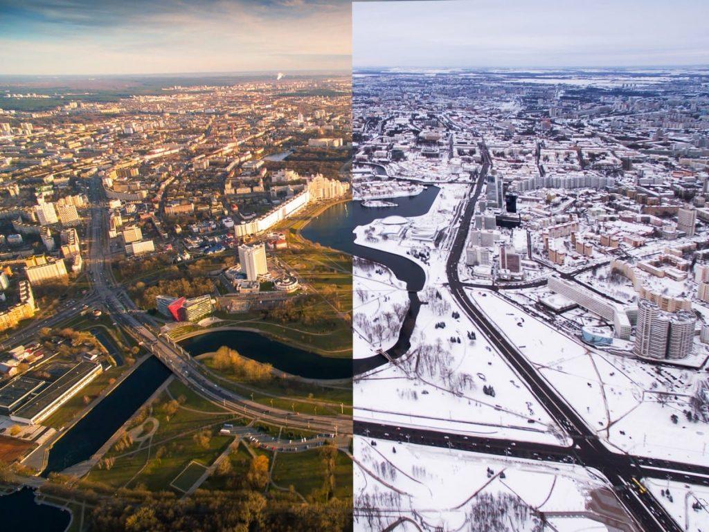 Минск летом и зимой